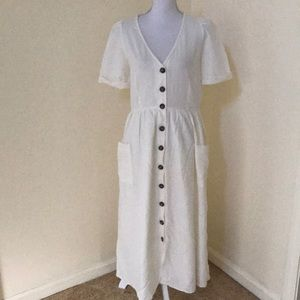 NWT! Zara off white XL linen blend  maxi dress